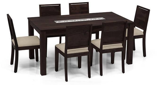 Brighton Large - Oribi 6 Seater Dining Table Set (Mahogany Finish, Wheat Brown) by Urban Ladder