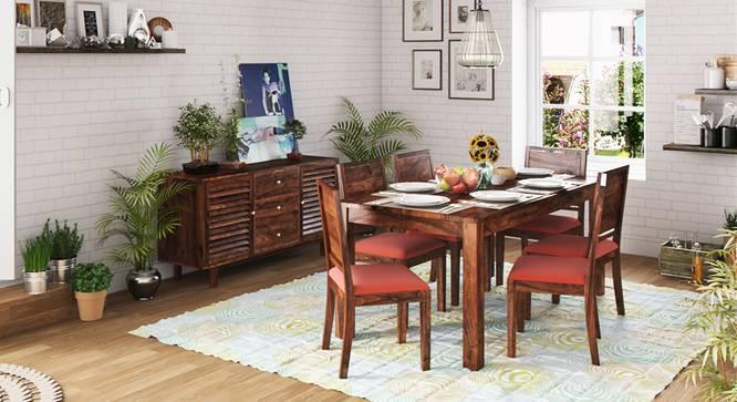 Arabia XL Storage - Oribi 6 Seater Dining Table Set (Teak Finish, Burnt Orange) by Urban Ladder