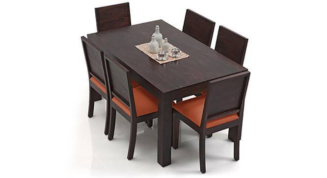 Arabia - Oribi 6 Seater Dining Table Set (Mahogany Finish, Burnt Orange) by Urban Ladder
