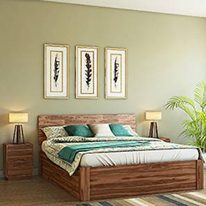 Boston Storage Essential Bedroom  Set (Teak Finish) (Queen Bed Size) by Urban Ladder