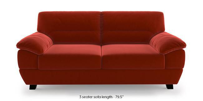 Alora Sofa (Red) (Red, 3-seater Custom Set - Sofas, None Standard Set - Sofas, Fabric Sofa Material, Regular Sofa Size, Regular Sofa Type)