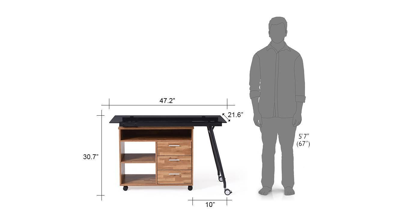 Niccol adjustable study table golden oak 15