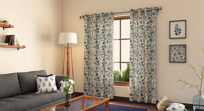 """Calico Curtains - Set of 2 (54"""" x 108"""" Curtain Size, Indigo - Floral Retreat  Pattern) by Urban Ladder"""