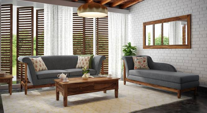 Malabar Chaise (Teak Finish, Left Aligned Chaise (Individual) Custom Set - Sofas, Smoke) by Urban Ladder