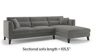 Lewis Sectional Sofa (Ash Grey Velvet)