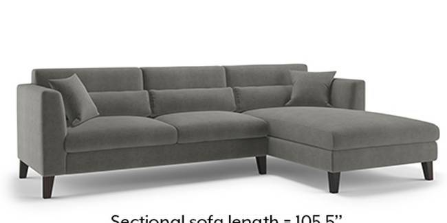 Lewis Sofa (Fabric Sofa Material, Regular Sofa Size, Soft Cushion Type, Sectional Sofa Type, Sectional Master Sofa Component, Ash Grey Velvet)
