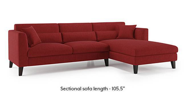 Lewis Sofa (Fabric Sofa Material, Regular Sofa Size, Soft Cushion Type, Sectional Sofa Type, Sectional Master Sofa Component, Salsa Red)