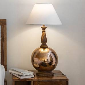 Tripoli Table Lamp (Copper Base Finish, Off White Shade Colour) by Urban Ladder