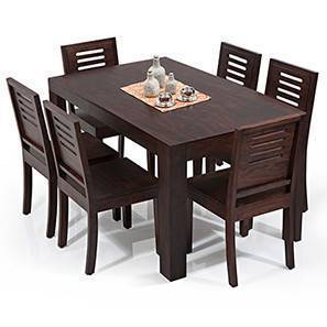 Arabia Capra 6 Seater Dining Table Set Mahogany Finish By Urban Ladder