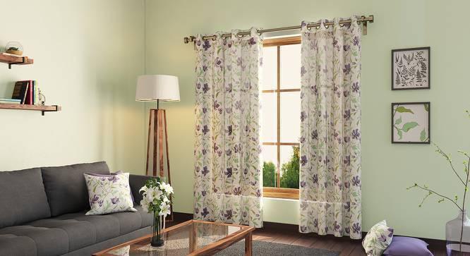 "Wilderness Curtain - Set Of 2 (54""x84"" Curtain Size, Purple Clematis Pattern) by Urban Ladder"
