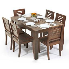 Arabia Capra 6 Seater Dining Table Set Teak Finish By Urban Ladder