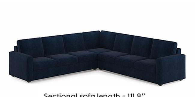 Apollo Sofa Set (Fabric Sofa Material, Regular Sofa Size, Soft Cushion Type, Corner Sofa Type, Corner Master Sofa Component, Sea Port Blue Velvet, Regular Back Type, Regular Back Height)