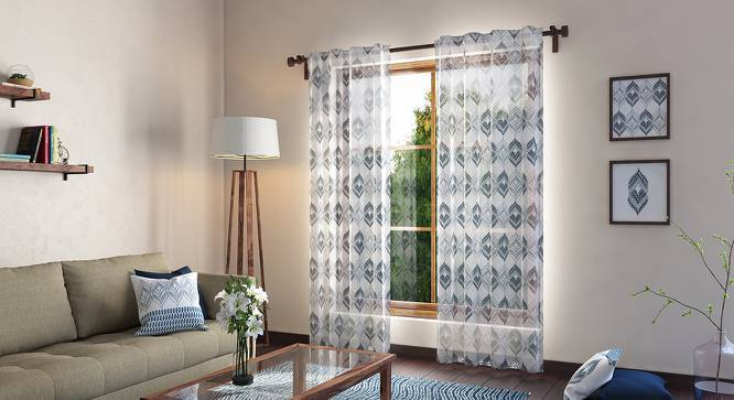 "Basra Curtain - Set Of 2 (Blue, Door Curtain Type, 54"" x 108"" Curtain Size) by Urban Ladder"
