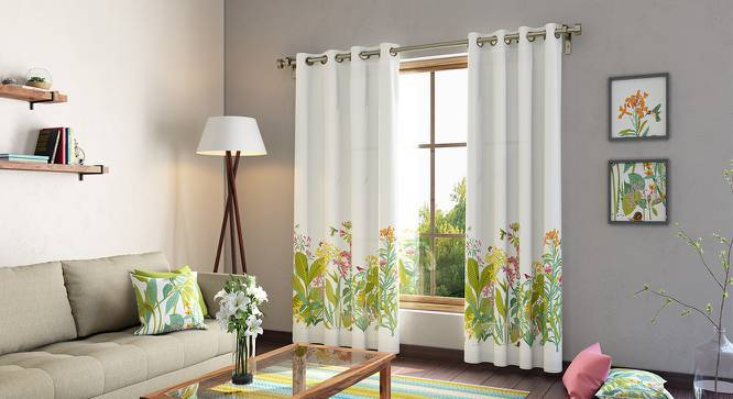 "Secret Garden Door Curtains - Set Of 2 (54""x84"" Curtain Size, Verdent ) by Urban Ladder"