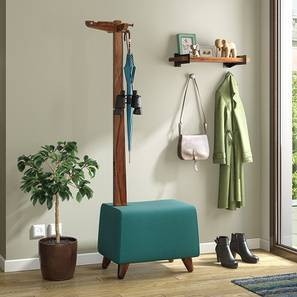 Okapi Entryway Bench (Teak Finish, Teal) by Urban Ladder