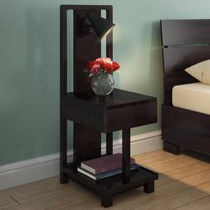 Barrow Bedside Table With Lamp (Mahogany Finish) by Urban Ladder