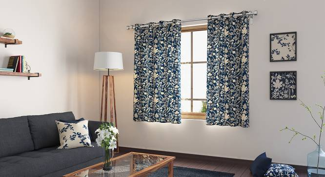 "Botanical Blueprint Window Curtains - Set Of 2 (54"" x 60"" Curtain Size, Spring) by Urban Ladder"