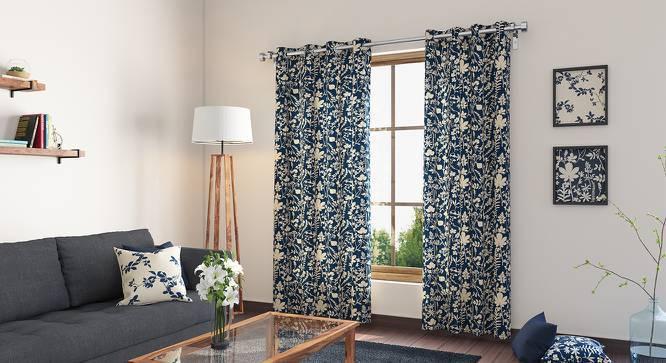 "Botanical Blueprint Door Curtains - Set Of 2 (54""x84"" Curtain Size, Spring) by Urban Ladder"
