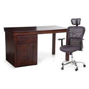 Bradbury - Venturi Study Set (Mahogany Finish, Ash Grey) by Urban Ladder