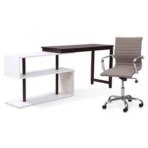 Tolstoy - Charles Study Set (Grey, Dark Walnut Finish) by Urban Ladder
