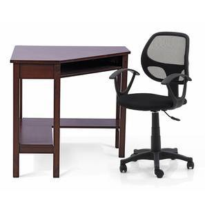 Collins - Eisner Study Set (Black, Dark Walnut Finish) by Urban Ladder