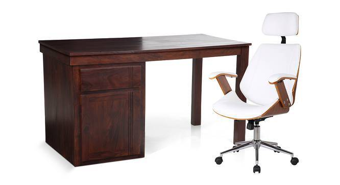 Bradbury - Ray Study Set (Mahogany Finish, White) by Urban Ladder