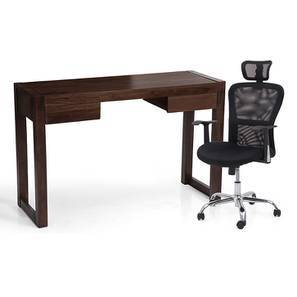 Austen - Venturi Study Set (Mahogany Finish, Carbon Black) by Urban Ladder
