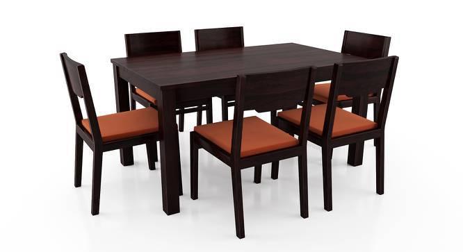 Arabia - Kerry 6 Seater Dining Table Set (Mahogany Finish, Burnt Orange) by Urban Ladder