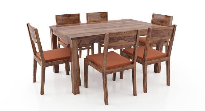 Arabia - Kerry 6 Seater Dining Table Set (Teak Finish, Burnt Orange) by Urban Ladder