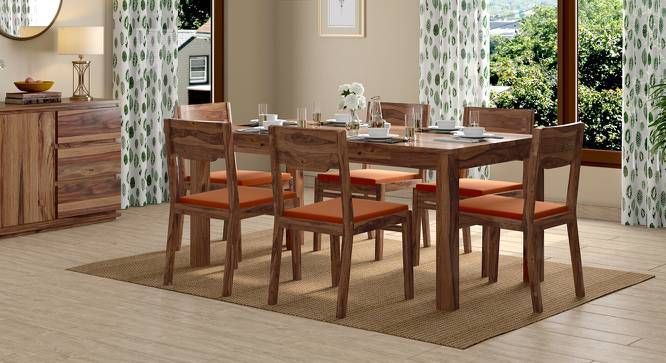 Arabia - Kerry XL 6 Seater Storage Dining Table Set (Teak Finish, Burnt Orange) by Urban Ladder
