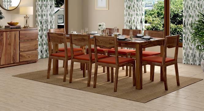 Arabia XXL - Kerry 8 Seater Dining Table Set (Teak Finish, Burnt Orange) by Urban Ladder