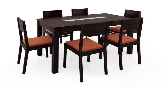 Brighton Large - Kerry 6 Seater Dining Table Set (Mahogany Finish, Burnt Orange) by Urban Ladder