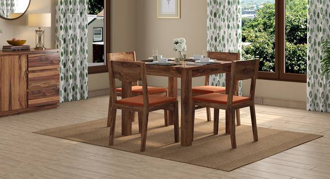 Arabia Storage - Kerry 4 Seater Dining Table Set (Teak Finish, Burnt Orange) by Urban Ladder