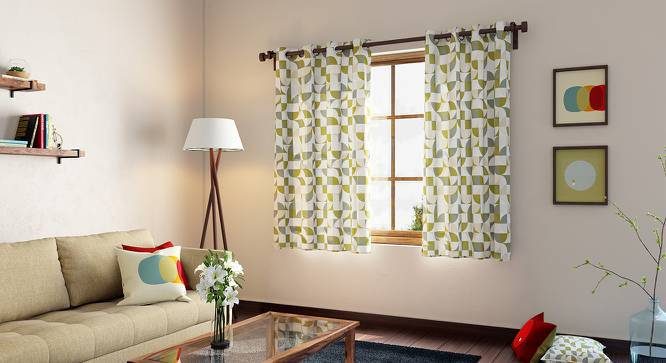 """Colour Block Window Curtains - Set Of 2 (54"""" x 60"""" Curtain Size, Curves & Lines) by Urban Ladder"""