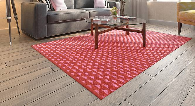 "Viviani Dhurrie (Red, Rectangle Carpet Shape, 72"" x 48"" Carpet Size) by Urban Ladder"
