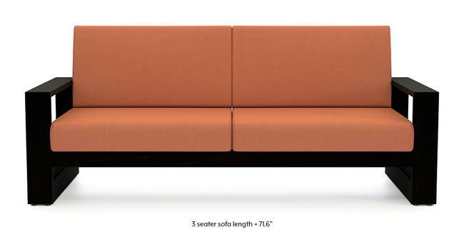 Parsons Wooden Sofa (Amber) (1-seater Custom Set - Sofas, None Standard Set - Sofas, Amber, Fabric Sofa Material, Regular Sofa Size, Soft Cushion Type, Regular Sofa Type)