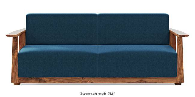 Serra Wooden Sofa - Teak Finish (Cobalt Blue) (1-seater Custom Set - Sofas, None Standard Set - Sofas, Cobalt, Fabric Sofa Material, Regular Sofa Size, Soft Cushion Type, Regular Sofa Type)