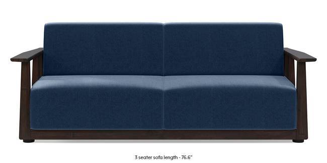 Serra Wooden Sofa - Mahogany Finish (Lapis Blue) (3-seater Custom Set - Sofas, None Standard Set - Sofas, Fabric Sofa Material, Regular Sofa Size, Soft Cushion Type, Regular Sofa Type, Lapis Blue)