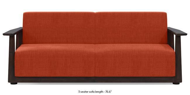 Serra Wooden Sofa - Mahogany Finish (Lava Rust) (2-seater Custom Set - Sofas, None Standard Set - Sofas, Lava, Fabric Sofa Material, Regular Sofa Size, Soft Cushion Type, Regular Sofa Type)