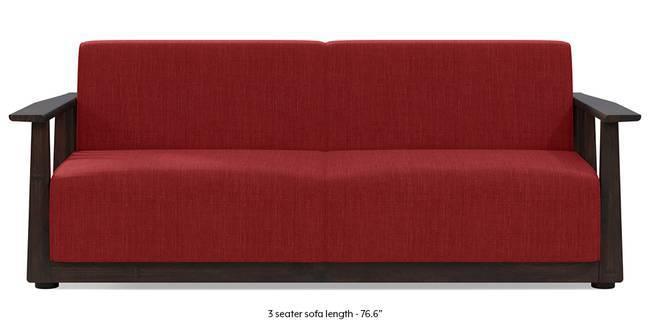 Serra Wooden Sofa - Mahogany Finish (Salsa Red) (3-seater Custom Set - Sofas, None Standard Set - Sofas, Fabric Sofa Material, Regular Sofa Size, Soft Cushion Type, Regular Sofa Type, Salsa Red)