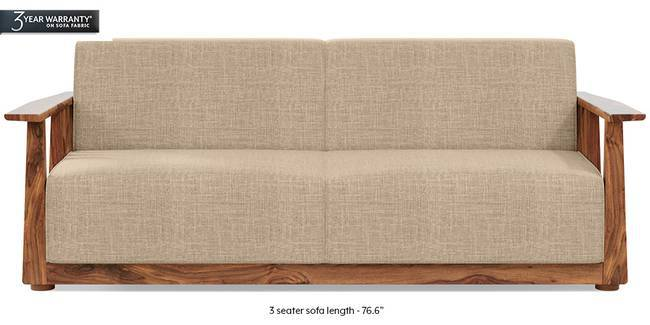 Serra Wooden Sofa - Teak Finish (Sandshell Beige) (1-seater Custom Set - Sofas, None Standard Set - Sofas, Fabric Sofa Material, Regular Sofa Size, Soft Cushion Type, Regular Sofa Type, Sandshell Beige)