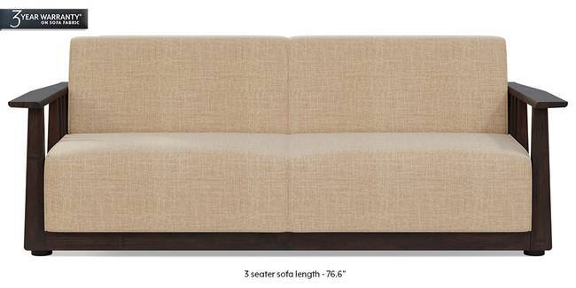 Serra Wooden Sofa - Mahogany Finish (Sandshell Beige) (3-seater Custom Set - Sofas, None Standard Set - Sofas, Fabric Sofa Material, Regular Sofa Size, Soft Cushion Type, Regular Sofa Type, Sandshell Beige)
