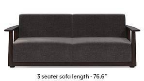 Serra Wooden Sofa - Mahogany Finish (Smoke Grey)