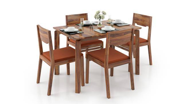 Catria - Kerry 4 Seater Dining Set (Teak Finish, Burnt Orange) by Urban Ladder
