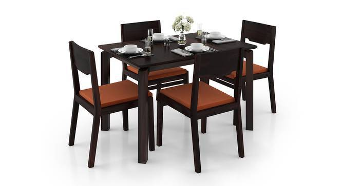 Catria - Kerry 4 Seater Dining Set (Mahogany Finish, Burnt Orange) by Urban Ladder