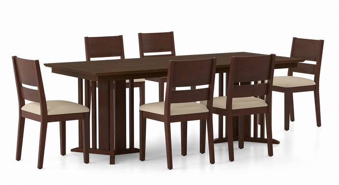 Angus XL - Cabalo Dining Table Set (Walnut Finish, Beige) by Urban Ladder
