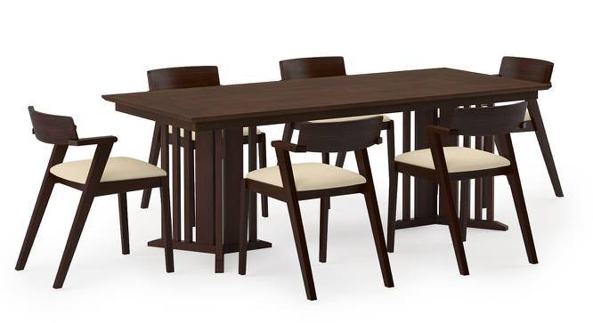 Angus XL - Thomson Dining Table Set (Walnut Finish, Beige) by Urban Ladder