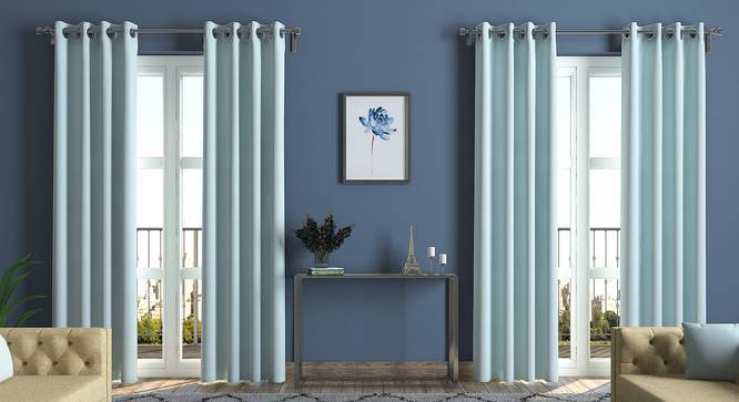 "Ethos Curtains - Set Of 2 (Skylight Blue, Door Curtain Type, 54"" x 108"" Curtain Size) by Urban Ladder"