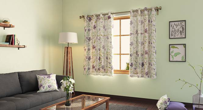 "Wilderness Window Curtains - Set Of 2 (54"" x 60"" Curtain Size, Purple Clematis) by Urban Ladder"