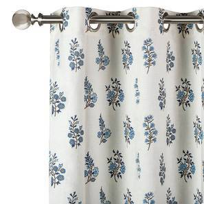 """Calico Window Curtains - Set of 2 (Indigo - Leaves & Blossoms, 54"""" x 60"""" Curtain Size) by Urban Ladder"""